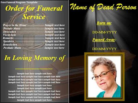 33 Sle Funeral Programs Templates Sle Templates Free Funeral Program Template For Word