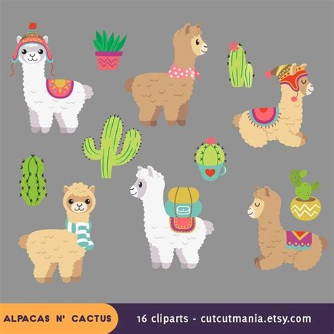 cute alpaca clipart cute lhama clipart cactus clip art alpacas  cactus digital clipart