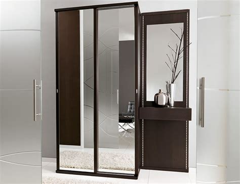 unico contemporary wenge and mirrored hallway storage system