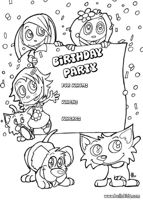 invitation card coloring page kids and animals birthday party invitation coloring