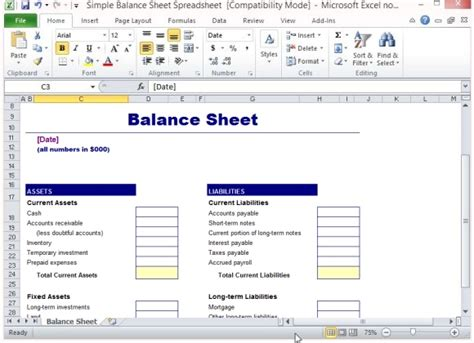 simple balance sheet template for excel powerpoint