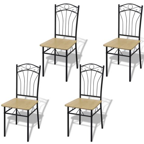 4 dining chairs with steel frame light brown vidaxl