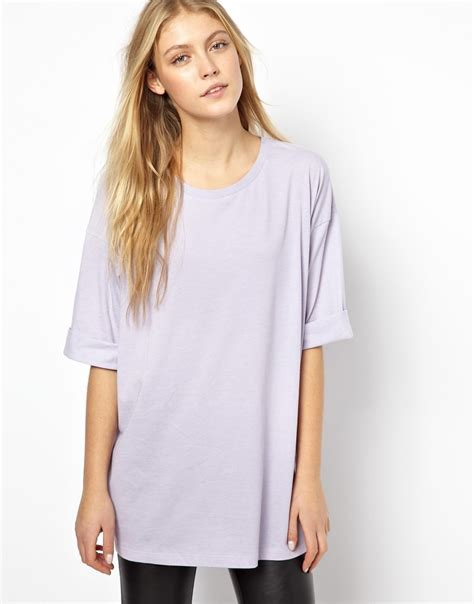 Oversized Tshirt asos oversized t shirt in purple lilac lyst