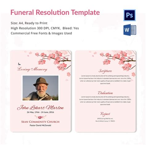 funeral resolution template 5 word psd format download