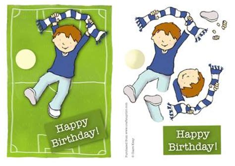 quick printable birthday cards football supporter happy birthday quick card blue white