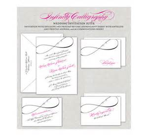 black and magenta wedding invitations infinity wedding invitations calligraphy invites magenta