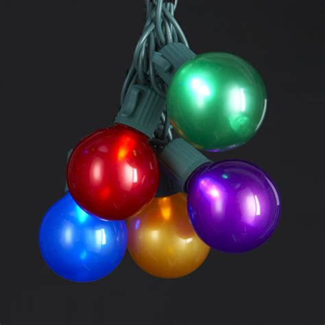 set of 10 led multi colored pearlescent g40 christmas
