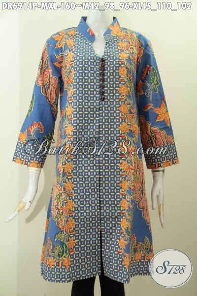 Batik Printing Bahan Halus Model Banyak Btm01011 baju batik dress modern motif kombinasi bahan halus proses printing pakaian batik berkelas
