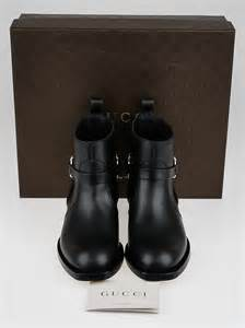 gucci black leather flat ankle boots size 9 39 5 yoogi s