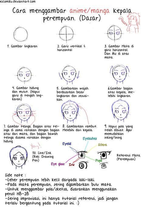 tutorial gambar hidung gambar 3 menggambar anime wajah manga wikihow gambar