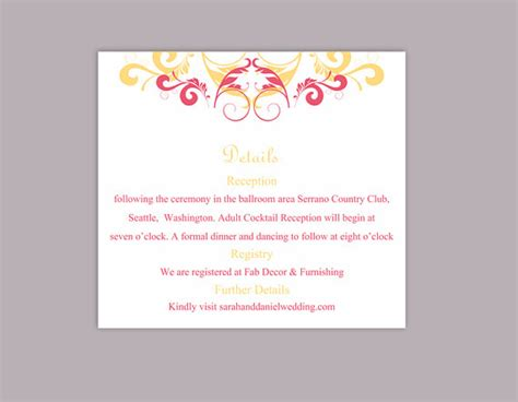 diy wedding card template diy wedding details card template editable text word file