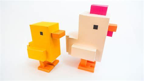 Craftowntoys Road Crossroads Papercraft ว ธ ทำของเล นโมเดลกระดาษไก จากเกมส ข ามถนน crossy road chicken papercraft model