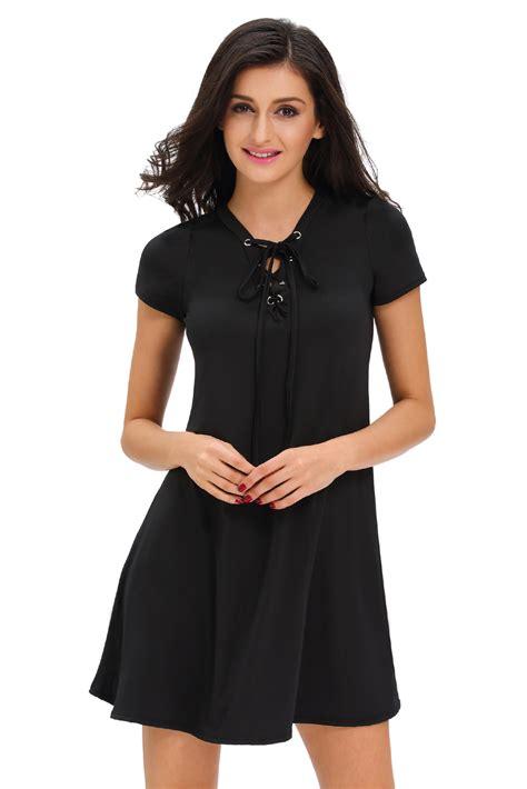 swing jive dresses black casual lace up swing dress novashe com