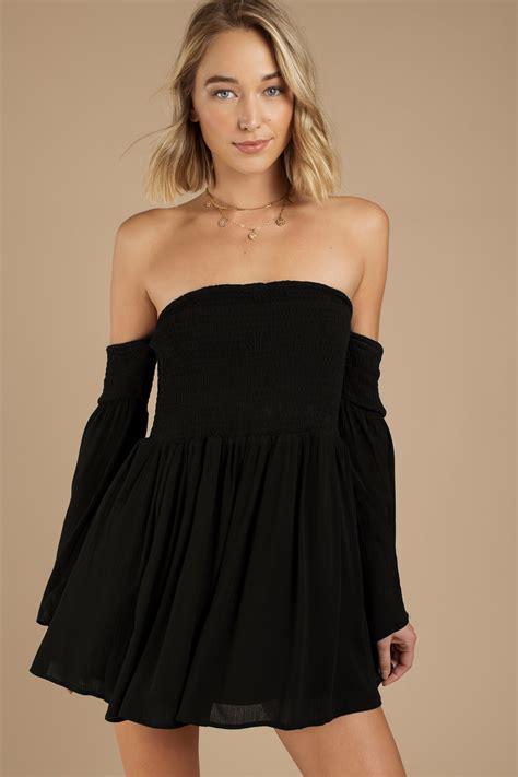 black skater dress shoulder dress skater