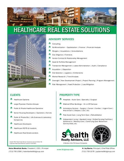 Listings Real Property Solutions Of Healthcare Real Estate Solutions Flyer