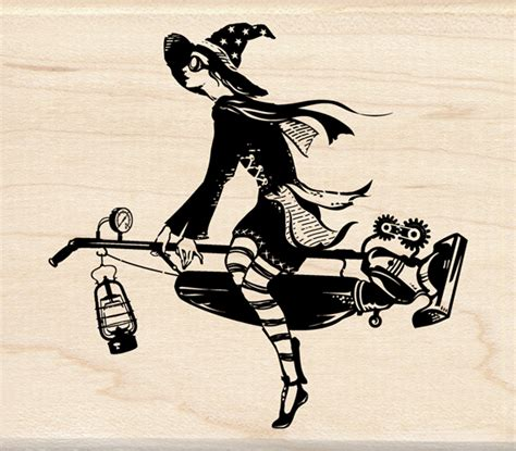 the witchs vacuum cleaner 1846577675 inkadinkado halloween collection wood mounted sts steunk witch