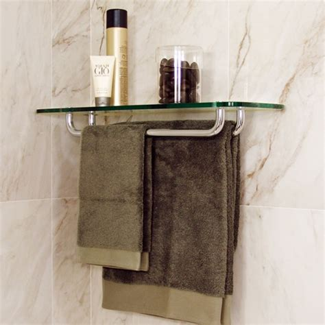 Corner Towel Shelf by Glass Rectangle Corner Shelf 8 Quot X 24 Quot W 2 Towel Racks