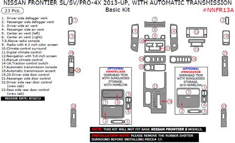 nissan frontier   slsvpro   automatic transmission basic interior kit  pcs