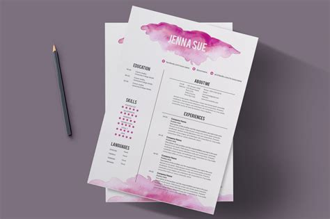 watercolor resume template resume templates on