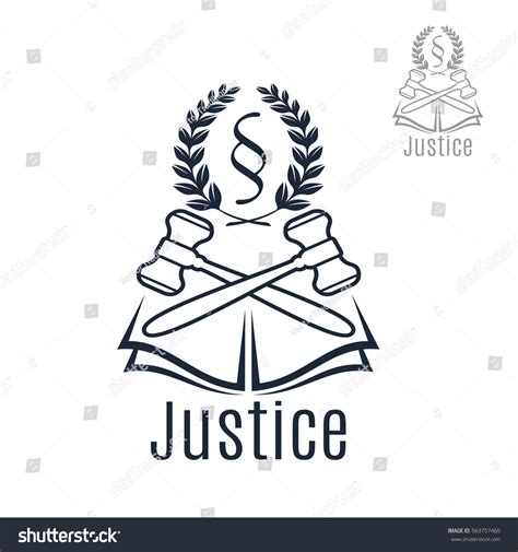 law section symbol law icon judge gavel heraldic laurel stock vector