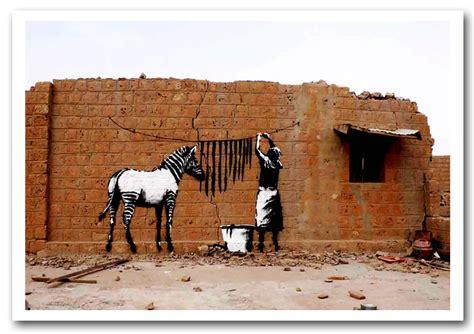 Wall Size Murals zebra stripes washing banksy framed art giclee art print