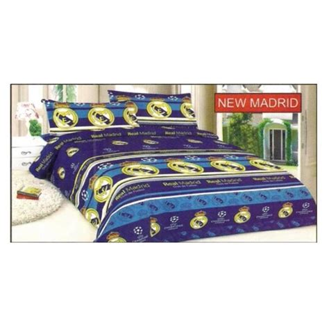 bonita sprei motif bola real madrid uk king size elevenia