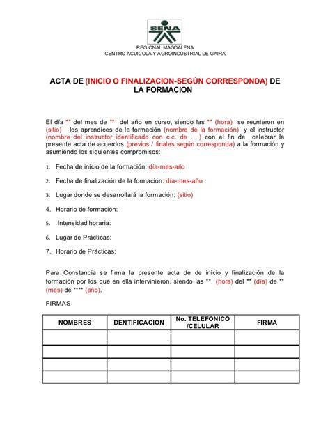 formato de un certificado formato acta de inicio o finalizacion