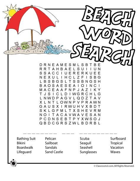 printable word search beach beach word search with hidden message woo jr kids