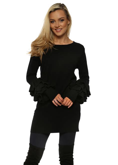 Leticia Tunic laetita mem black frill sleeve tunic jumper