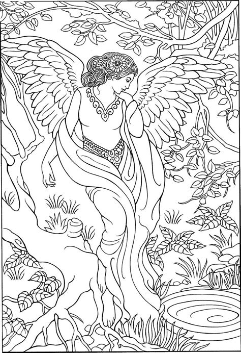 beautiful angel coloring page adult colouringfairies