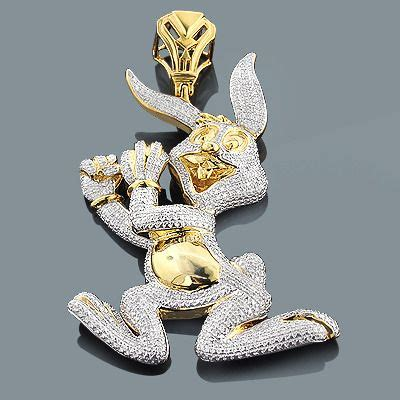 Real Custom Jewelry: Diamond Bugs Bunny Pendant 2.48ct
