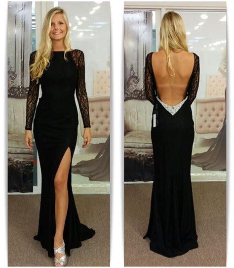 lace boat neck black open back maxi dress black bateau spandex evening dresses backless long sleeves