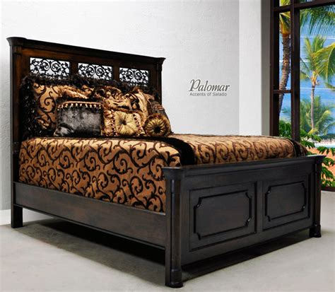 spanish bedroom furniture tuscan style bed with high headboard rustic mediterranean