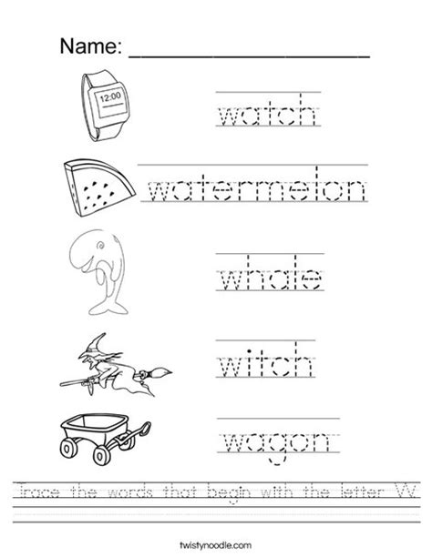 Common Kindergarten Worksheets by Common Worksheets 187 Letter W Worksheet Preschool And