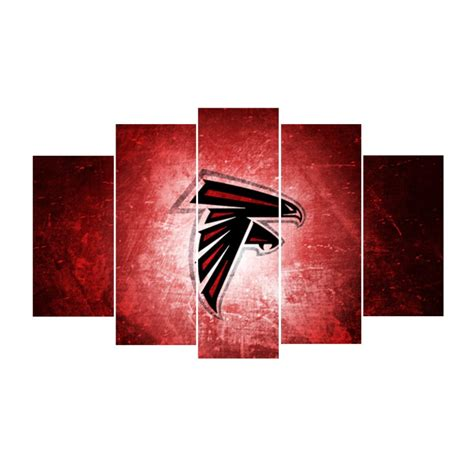 5 panels atlanta falcons logo canvas prints painting wall falcons team promotion shop for promotional falcons team