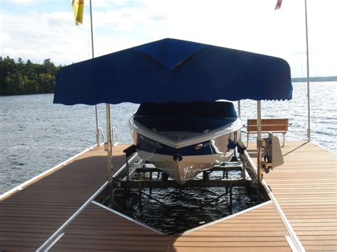 how to build a cantilever boat lift boat lifts made in lakefield ontario r j machine