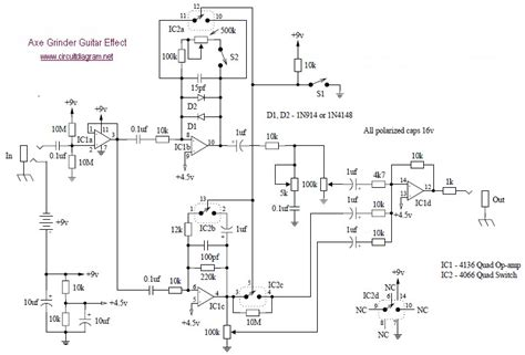 axe grinder electric guitar effect schematic design