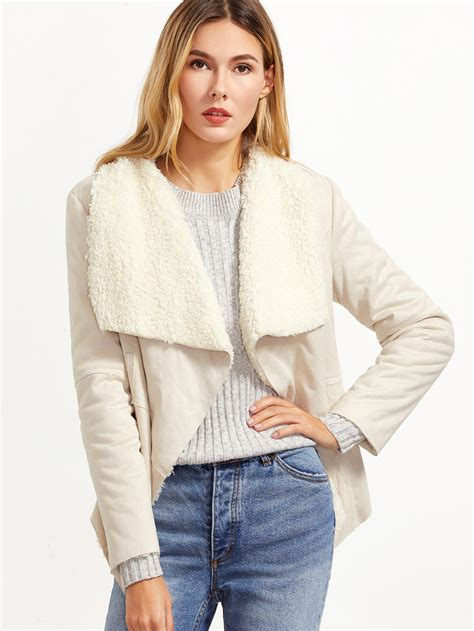 shearling drape jacket white drape collar faux shearling jacket makemechic com
