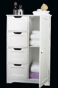 White Freestanding Bathroom Furniture White Wooden Storage Cabinet Four Drawers Door Bathroom Bedroom Freestanding Ebay