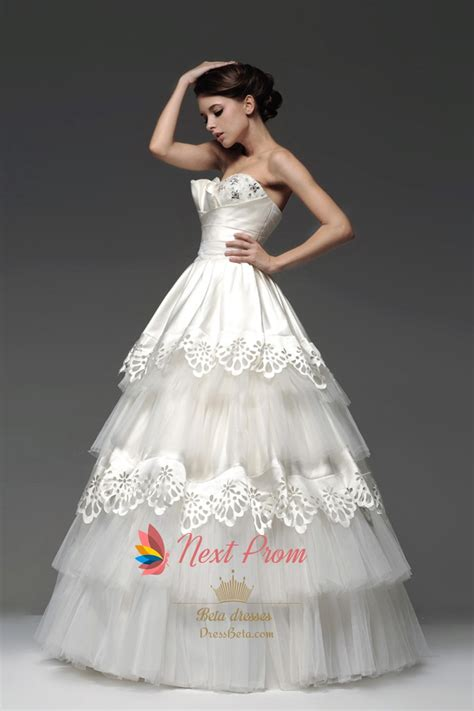 layered wedding gown strapless tiered tulle ball gown  embroidery  prom dresses