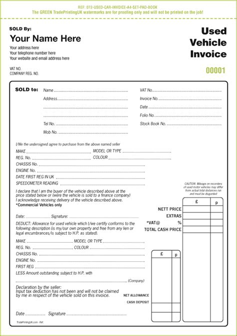 Used Car Sales Invoice Template templates for report book and vehicle condition