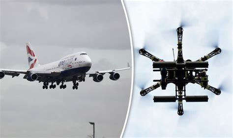 drone plane with drone hits airways plane moments before jet lands