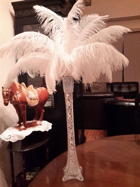 Ostrich Feather Centerpiece With 16 Quot Eiffel Tower Vase Ostrich Feather Centerpieces Diy