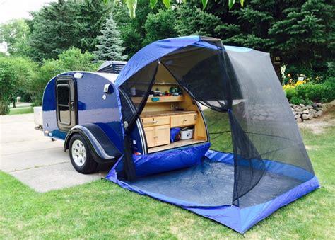 the utlimate teardrop trailer it has a tent 5