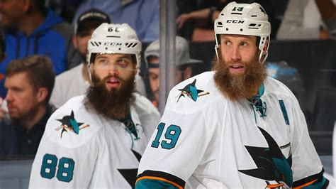 joe thornton brent burns cheer on fan s sick beard nhl com