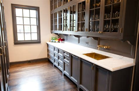 Charcoal Painted Kitchen Cabinets by Gray Cabinets With Brass Hardware Transitional Kitchen