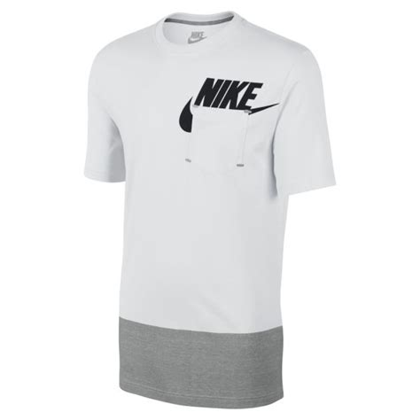 nike s futura pocket t shirt white grey sports leisure zavvi