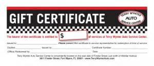 automotive gift certificate template terry wynter auto service center your auto care expert