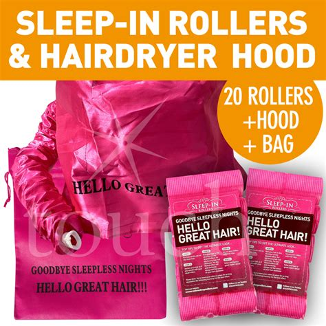 Hair Dryer Plastic Bag 20 sleep in rollers new large pink hair dryer