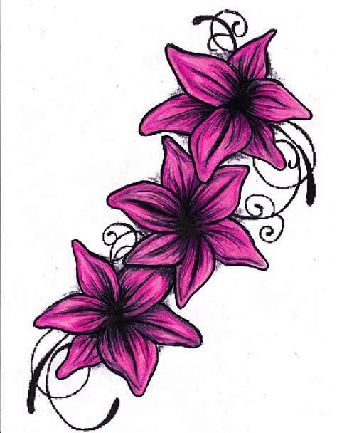 lily tattoo drawing colour by missperple on deviantart